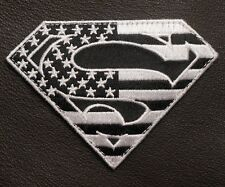 SUPERMAN AMERICAN FLAG TACTICAL MILITARY BLACK OPS VELCRO® BRAND FASTENER PATCH