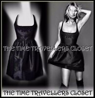 KATE MOSS TOPSHOP BLACK EMBELLISHED BEADED EMBROIDERED SILK TULIP DRESS UK 8