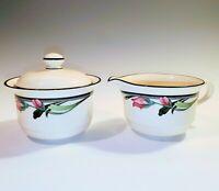 Lenox Chinastone MIDNIGHT BLOSSOMS Creamer and Sugar Bowl with Lid 1993-1999