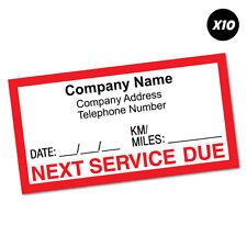 10X Custom Text Company Next Service Due Sticker Decal Next Oil #6670EN