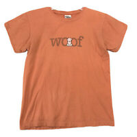Woof Dog Tee T-Shirt Mens Size M Medium Faded Orange Short Sleeve Cotton