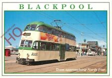 Picture Postcard:;BLACKPOOL, TRAM APPROACHING NORTH PIER