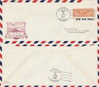 US 1938 FIRST FLIGHT AIR MAIL FLOWN COVER JUNEAU ALASKA TO FAIRBANKS ALASKA