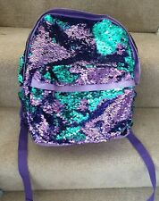 Girls Mermaid Magic Reversible Sequins green and purple Backpack Claire's C115