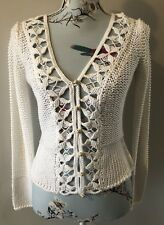 Oui Moments White Crochet Knit Cut Out Long Sleeve Cardigan Size 36 / Uk 10