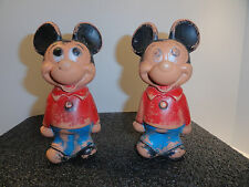 Vintage Mickey Mouse Plastic Figurine Disney Hong Kong set of two