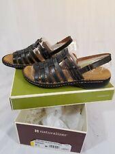 Naturalizer POMPANO Womens Size 9 1/2 M Leather Strappy Slingback Sandals Black