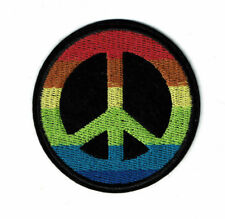 """3"""" Rainbow Peace Sign Patch Iron on Embroirderd patches USA Gay Pride lgbt"""