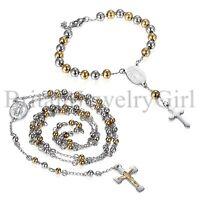 Men Women Cross Jesus Pendant Rosary Beads Stainless Steel Bracelet Necklace
