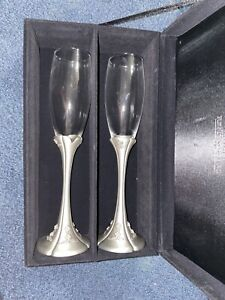 Things Remembered Pair of Toast Stainless Steel Stem Champagne Flutes