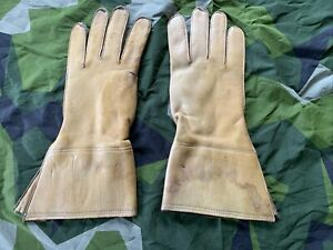 Vintage British Army WD Marked Dispatch Riders Gloves DR Gauntlets Tan Leather 9