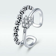 Double Layer 925 Sterling Silver Open Finger Ring with Clear CZ Wedding Jewelry