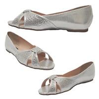 Womens Shoes Silver Shimmer Diamante Peep Toe Pumps Open Toe Style