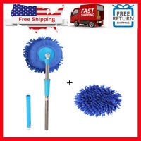 Meirun 360 Degree Wet Mop,Microfiber Chenille Flexible Handle Car Clean Wash Mop