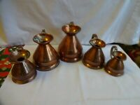 Antique 5 x Dovetailed Graduating Copper Haystack Measuring Jugs HR Lead  Seal