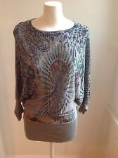 Ladies Vintage Style Top Grey With beautiful Embellishment On Front Size S / M