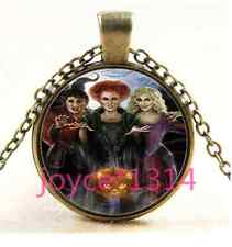 Vintage Witch Cabochon Bronze Glass Chain Pendant Necklace TS-3263