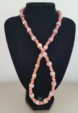 New Handmade Elasticated Brown Beige Wooden Cube Square Round Beaded Necklace