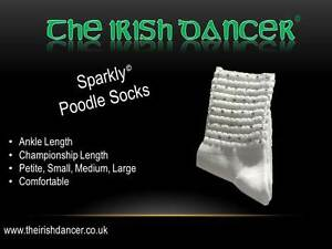 Sparklys White Ankle Length Diamonted Poodle Socks - Irish Dancing - Ultra Low