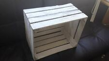 WHITE PAINTED FRENCH VINTAGE WOODEN APPLE FRUIT CRATE BUSHEL BOX SHABBY CHIC