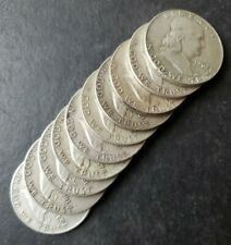 Lot of 10 50c Franklin Silver Half Dollars