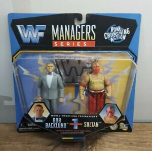 Jakks WWF 1997 Managers Series 1 Bob Backlund & Sultan Bone Crunching MOC