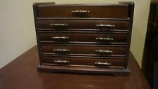 1976 GUNTHER MELE 4 DRAWER OPEN TOP JEWELRY BOX 9 X 11.5 X 8