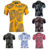 Men's Cotton Hawaiian Shirt Leaves Print Casual Short Sleeves Aloha Beach Shirts