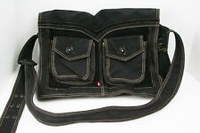 Levis Canvas & Corduroy Cross Body Laptop Satchel Book Messenger Bag - Black