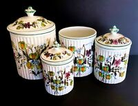 Vintage Italian Hand Painted 4 Ceramic Canisters With Lids Flowers