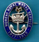 WWI WOMENS ROYAL NAVAL SERVICE 1917-19 HM SILVER & ENAMEL BADGE