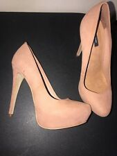 Woman's River Island High Heel Pink/Salmon Suede Court Shoes Size 8/41
