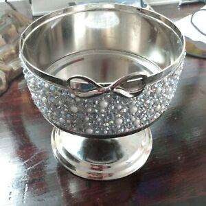 NEW Bath & Body Works Silver Bow Gems Pearls Pedestal Candle Sleeve Holder