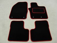 Fiat 500X 2015-on Fully Tailored Deluxe Car Mats in Black with Red Trim.