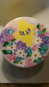 Handmade, Hand- Painted, One-of-a-Kind, Yellow with Butterflies, Keepsake Box