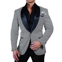 Men's Houndstooth Paisley Dinner Blazer Prom Wedding Black Shawl Lapel Tuxedos