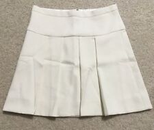 NWT J Crew Crepe Box Pleated Skirt Size 0 Warm Ivory Beige Cream $79.50