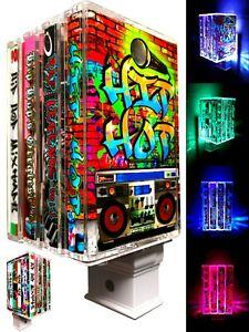 Hip Hop Wall Art-Color Changing Night Light -Vintage Modern LED Lighting Decor