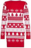 Mela Loves London Red Knitted Christmas Tree Jumper Dress Size 16 VR113 05