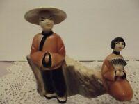 VTG PAIR CHINESE ASIAN COUPLE CERAMIC PLANTER MAN WOMAN 1950'S