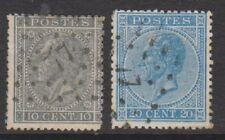 Belgium - 1866, 10c & 20c - Perf 14 1/2 x 14 - Used - SG 29/30