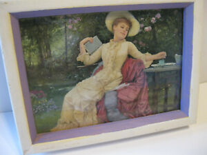 "Vintage Framed Print Edwardian Lady White Wooden Frame 8"" x7"" Good Vtg Condition"