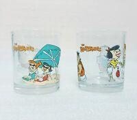Vintage Penotti Flintstones Glasses Set of 2 - Tumbler Juice Glass Fred Wilma
