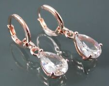 ROSE GOLD PLATED EARRINGS WITH CLEAR CUBIC ZIRCONIA DROP DANGLE LEVERBACK HOOPS