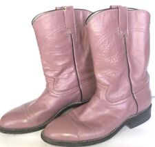 COWTOWN BOOTS WOMENS COWGIRL WESTERN BLUSH MAUVE ROSE LEATHER MID CALF BOOTS 6.5
