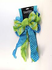 Turquoise Green Yellow Plaid Ribbon Bow Easter Christmas Spring Decoration