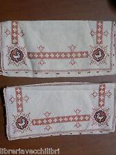Coppia di antico portaposate in stoffa tasca ricamata punto a croce d epoca del