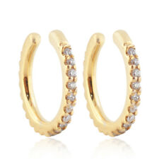 14k Solid Gold Natural Pave Diamond Beautiful Ear Cuff Earrings Jewelry