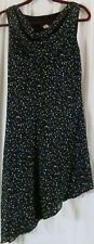 Alyn Paige Dress 10 Sleeveless Sheath Asymmetric Black with Small White Circles