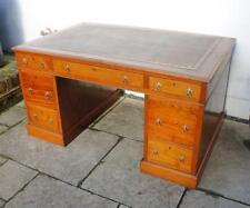 Large Victorian Mahogany 7 drawer  pedestal desk, leather top - refurbished
